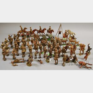 Collection of Painted Composition Toy Soldiers and Figures