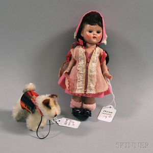 "Vogue Painted Lash Walker Hard Plastic Ginny Doll and Steiff ""Ginny's Pup,"""