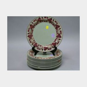 Set of Twelve Wedgwood Copper Lustre Decorated Ceramic Plates.