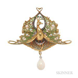 Art Nouveau 18kt Gold, Opal, Diamond, and Enamel Pendant/Brooch, Lucien Gautrait