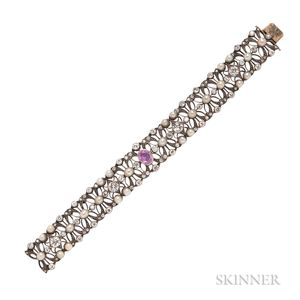 Pink Sapphire, Pearl, and Diamond Bracelet