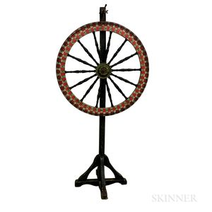 Large Turned and Painted Wheel of Chance on Stand