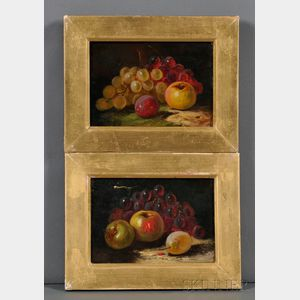 American School, 19th Century      Two Works: Still Life with Fruit.