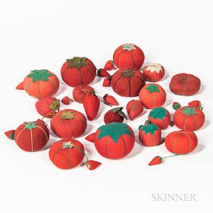 Group of Tomato and Strawberry-form Fabric Pincushions