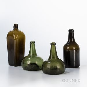 Four Early Blown Glass Bottles