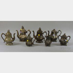 Seven Pieces of Victorian Silver Plated and Britannia Tea Ware