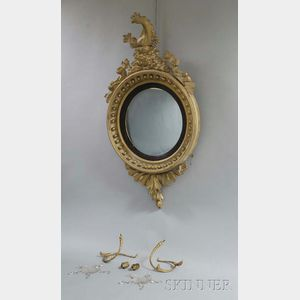 Classical Carved and Gilt-gesso Girandole Mirror