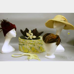 Group of Vintage Hats and Hair Ornaments