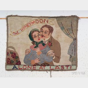 """Wool and Cotton Pictorial Hooked Rug """"The Honeymoon/Alone at Last,"""""""