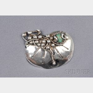 Sterling Silver and Turquoise Brooch, Mary Gage
