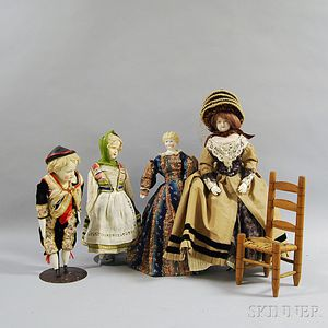 Large Wigged China Shoulder Head Doll and Three Other Dolls