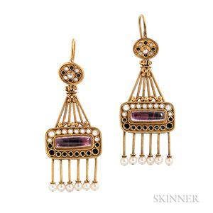 Renaissance Revival Gold, Enamel, and Gem-set Earrings, Carlo Giuliano
