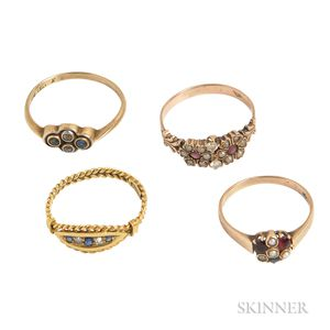 Four Antique Gold Gem-set Rings