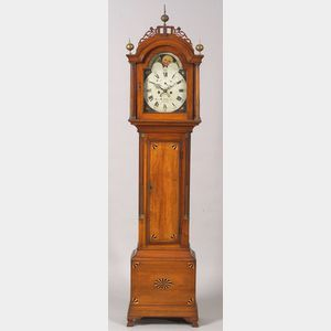 Sold for: $32,900 - Federal Cherry Inlaid Tall Case Clock