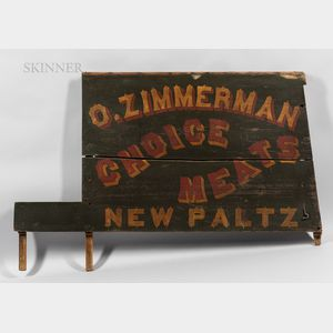 """O. Zimmerman """"Choice Meats"""" Painted Wood Advertising Sign"""