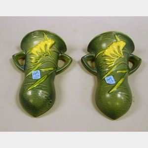 Pair of Roseville Pottery Freesia Wall Pockets.