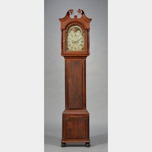 Walnut Carved Tall Case Clock