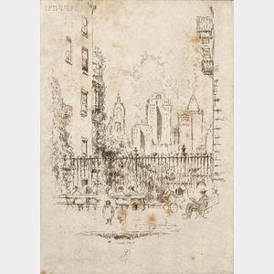 Joseph Pennell (American, 1860-1926)      Orange St. (Brooklyn)