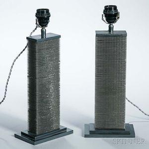 Pair of Modern Aluminum Lamps