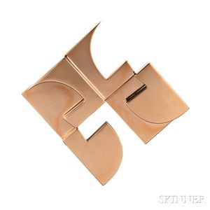 Artist-designed 18kt Gold Pendant/Brooch, Hans Richter