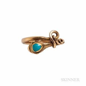 Gold and Turquoise Snake Ring