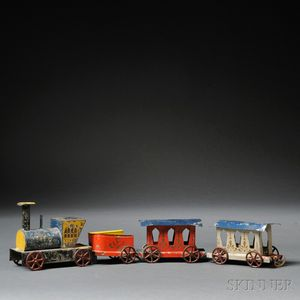 Painted and Stencil-decorated Tin Toy Train