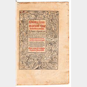 Mazzolini da Prierio, Silvestro (1457-1527) Summa Summarum, quae Sylvestrina Dicitur.