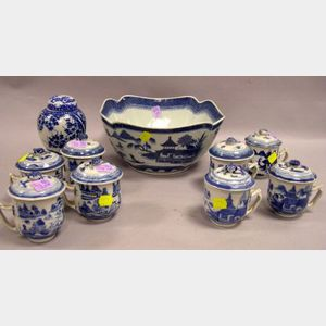Chinese Export Porcelain Canton Blue and White Bowl, Set of Eight Pot de Cremes and a Tea Caddy.