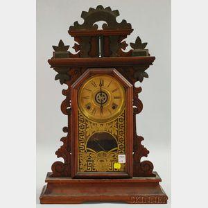 "E. Ingraham Walnut  ""Pansy"" Shelf Clock"
