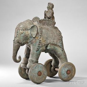 Bronze Toy Elephant on Wheels