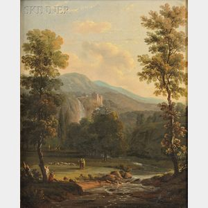 Attributed to Jean-Baptiste Pillement (French, 1728-1808)      Landscape with a Castle