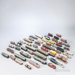 Approximately Fifty-six Marklin HO Scale Locomotives and Train Cars.