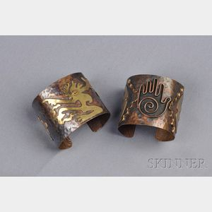 Pair of Copper and Brass Cuff Bracelets