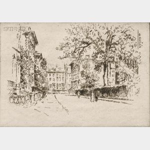 Joseph Pennell (American, 1860-1926)      Two Brooklyn Views: Perrepont Place (Montague Terrace)