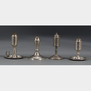 Four Whale Oil Pewter Sparking Lamps