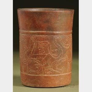 Pre-Columbian Incised Pottery Cylinder