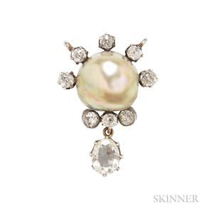 Antique Natural Pearl and Diamond Pendant