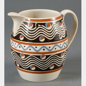 Sold for: $5,629 - Mochaware Handled Pitcher