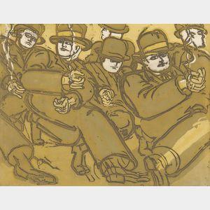 Lester F. Johnson (American, 1919-2010)      Men in Street #2