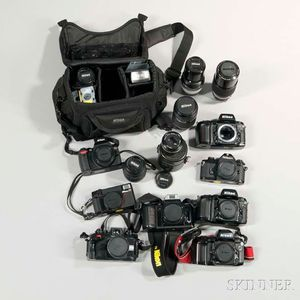 Group of Nikon Cameras and Lenses