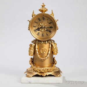 Japy Freres Gilt-bronze and Brass Mantel Clock