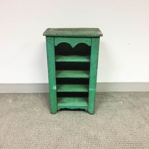 Small Green-painted Pine Cupboard