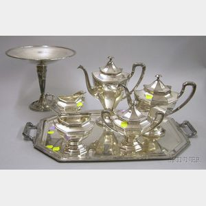 Reed & Barton Five-piece Coffee/Tea Set with Matching Handled Tray