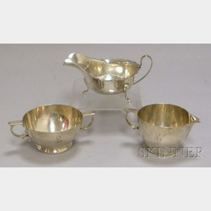 Gorham Sterling Silver Creamer and Sugar Bowl and a English Gravy Boat
