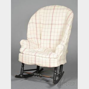 Black-painted, Turned, and Upholstered Make-Do Armchair on Rockers