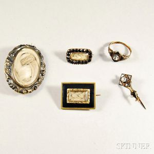 Five Pieces of Mourning Jewelry