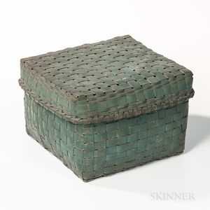 Square Blue-painted Ash Splint Covered Basket