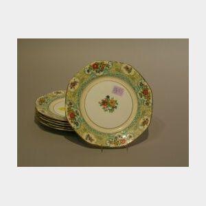 Set of Six Adderleys Lenora Pattern Porcelain Luncheon Plates.
