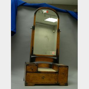 Art Deco Burl Elm Shaving Mirror.