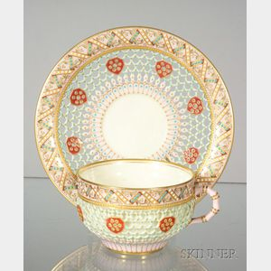 Reticulated Royal Worcester Porcelain Cup and Saucer